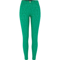 River Island Womens Green jacquard skinny pants
