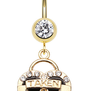 Golden Colored Heart Lock Sparkle Belly Button Ring