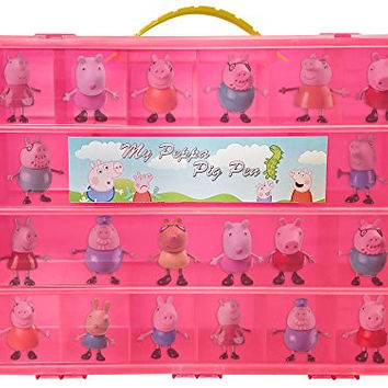 Peppa Pig TM Compatible Organizer - My Peppa Pig Pen Is The Perfect Peppa Pig TM Compatible Storage Box- Stores Up to 30 Peppa Pig Toys - Large Sturdy Case And Carrying Handle (Pink)