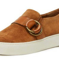 DCCKAB3 Frye Lena Harness Leather Slip-On Fashion Sneakers