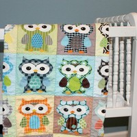 Blue Hoot Hoot QUILT by PETUNIAS  baby blanket owl by PETUNIAS
