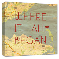 Romantic Map Art Customized with Places and Names 10X10 Custom Canvas
