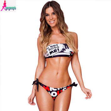 Gagaopt 2017 Summer Bikini New fashion Mouse Pattern Print Cute  Sexy Lingerie Moda  Sports Women Bikini Swimsuit Sets