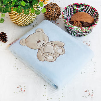 Lovely Bear Embroidered Applique Polar Fleece Baby Throw Blanket in 30.7 by 39.4 inches