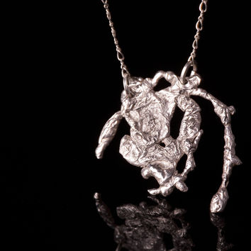 Sterling Silver Splatter Pendant and Necklace