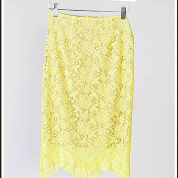 Lace Pencil Skirt with Nude Lining, Yellow