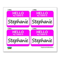 Stephanie Hello My Name Is - Sheet of 4 Stickers