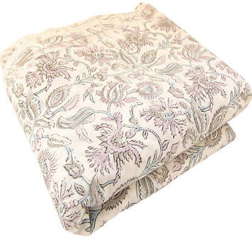 Indian Hand Printed Cotton Fabric Floral Design Fabric By The Yard White Bleached Pure Cotton Fabric Multi Purpose For Making Shirt/Dress