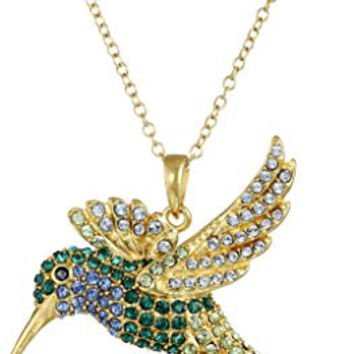 """18k Yellow Gold Plated Sterling Silver Swarovski Green and Blue Hummingbird Pendant Necklace, 18"""""""