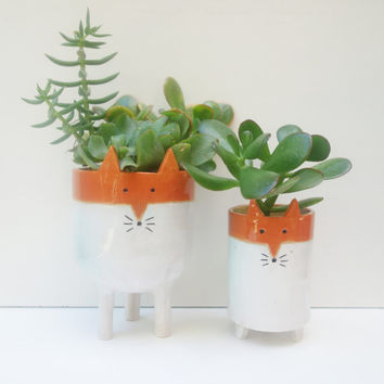 Large Tripod Fox Planter - White and Orange Succulent or Cacti Plant Pot