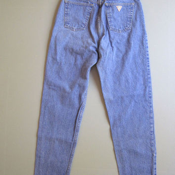 "Vintage 80's 90's Guess Jeans High Waist Mom Tapered 31 Blue 27"" Denim"