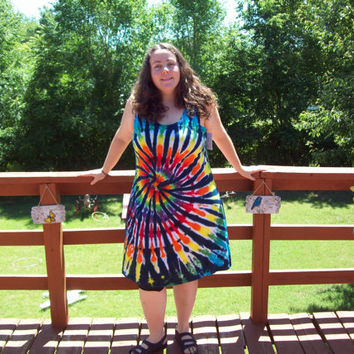Tie Dye Dress S M L XL 2X 3XL- Adult and Plus Size- Rainbow Tiger Tie Dye Dress short