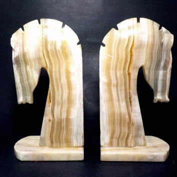 Horse Bookends, Onyx Bookends, Onyx Horse Head Bookends, Large Heavy Onyx Bookends, Mid Century