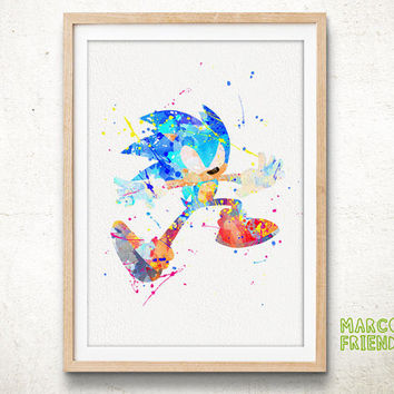 Sonic The Hedgehog - Watercolor, Art Print, Home Wall decor, Watercolor Print, Sonic The Hedgehog Poster