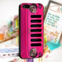 Pink Jeep Wrangler  - Print On Hard Case For iPhone 5 Case