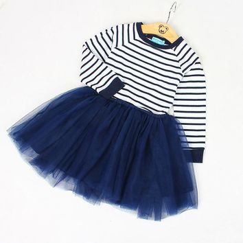 2PCS/ Striped Long Sleeve Top+ Mesh Ball Skirt Spring Dress Outfit for Toddlers
