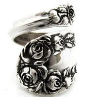 Sterling Silver Spoon Ring Rose By Wallace 1888 Size 6 - 10 Wrapped Medium