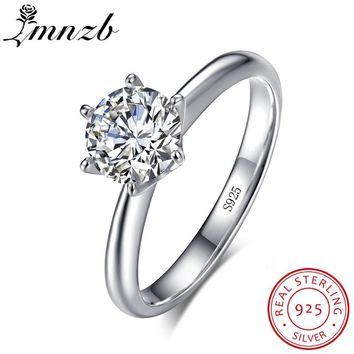 LMNZB 100% Original Solid 925 Sterling Silver Ring 1.5 Carat Wedding Anniversary Solitaire Ring Luxury Jewelry LR12101