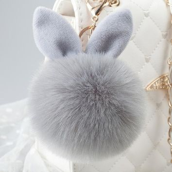 Big faux leather 8CM Fur PomPom KeyChain Rabbit Hair Bulb Bag pom pom Ball key chain Pendant porte clef for women Lovely Fluffy