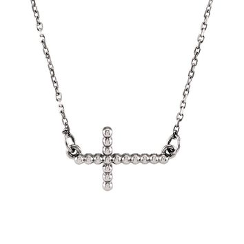 19.5mm Sideways Beaded Cross Necklace in 14k White Gold, 16.5 Inch