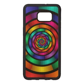 Round and Psychedelic Colorful Modern Fractal Art Wood Samsung Galaxy S6 Edge Case