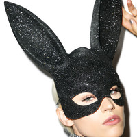 Glitter Gettin' Busy Bunny Mask BLACK One