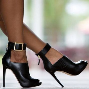 Metal Buckle High Heels Boots