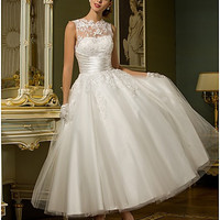A-line Jewel Ankle-length Tulle Wedding Dress(788859) #007888