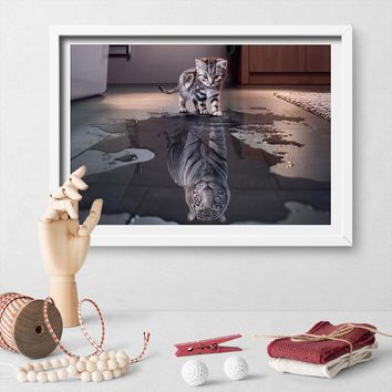 Believe In Yourself Cat Tiger Poster And Print Kitten Seeing A Tiger In A Puddle Canvas Painting Living Room Wall Art Decoration