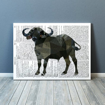 Modern art African buffalo poster Colorful decor Animal print TOA92-1