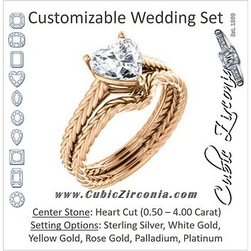 CZ Wedding Set, featuring The Florence engagement ring (Customizable Cathedral-set Heart Cut Solitaire with Vintage Braided Metal Band)