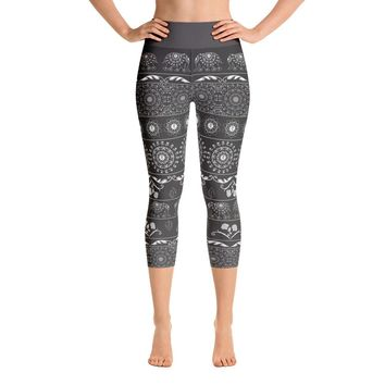 Elephant Mandala in Black Yoga Capri Leggings