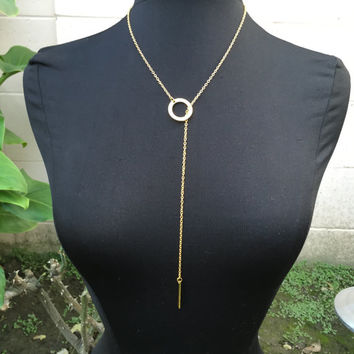 Gold Dainty Circle Bar Minimal Chain Necklace