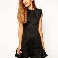 ASOS | ASOS Skater Dress in Scuba with Fluted Hem at ASOS