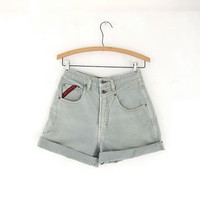 Vintage 80s sage green jean shorts. high waisted shorts. roll up shorts.