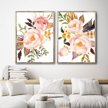 WATERCOLOR FLOWER Wall Art, Watercolor Floral Bedroom Wall Decor, Tribal Feather Floral Artwork Set of 2 Floral Canvas or Prints Pictures