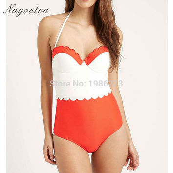 2016  Black white red adult swim figures Young girl swimwear swimming trunks Halter patchwork one piece swimsuits swim suit D003