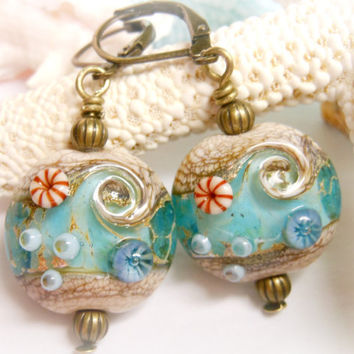 Ocean Beach Sea Shell Seashell Lampwork Glass Bead Beach Summer Vacation Sand Waves Blue Handmade Lampwork Earrings