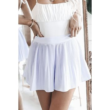 Summer Date Night Blue Pleated Shorts