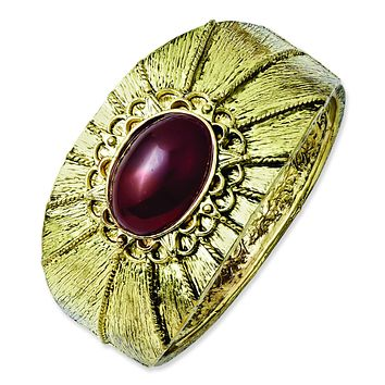Brass-tone Red Acrylic Stone Hinged Cuff Bangle BF1087
