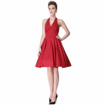Heroecol Women Halter V Neck Sleeveless Vintage 50s 60s Swing Style Dresses Rockabilly 1950s 50's Party Red Dress