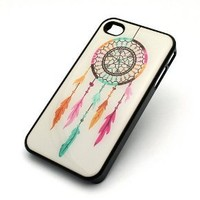 BLACK Snap On Case IPHONE 4 4S Plastic Cover - RAINBOW DREAMCATCHER feather dream catcher mayan aztec tribal