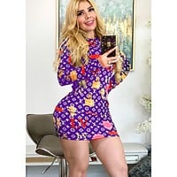 LV Louis Vuitton Newest Popular Women Print Long Sleeve Slim Dress Purple