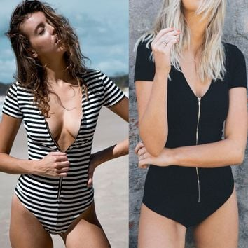 Surf Bikini Swimsuit Women Zip Deep V One Piece Swimwear Black & Stripe Bodysuit Beachwear