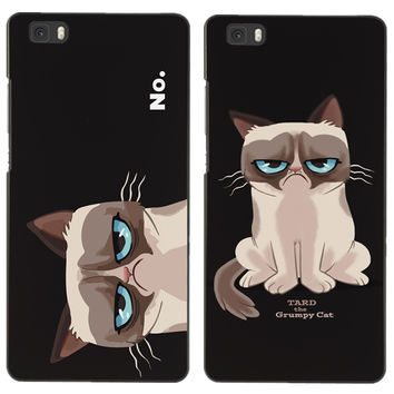 """Wronged Cat Pattern Case For Huawei Ascend P8 Lite 5.0"""" Cases Hard Back Phone Cover Funda For Huawei P8 Lite"""