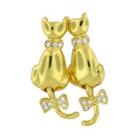 Goldplated Cats with Swinging Tail Pierced Earrings