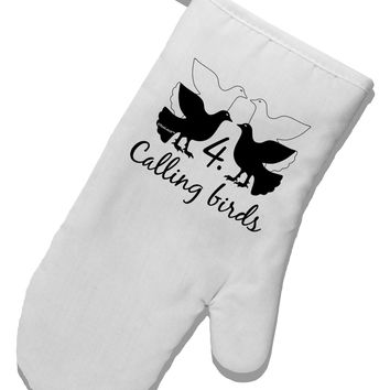 Four Calling Birds Text White Printed Fabric Oven Mitt