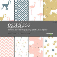 Digital paper pack of 8 sheets Pastel zoo 090