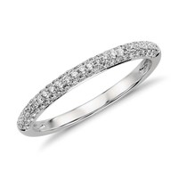 Trio Micropavé Diamond Wedding Ring in Platinum (1/3 ct. tw.) | Blue Nile