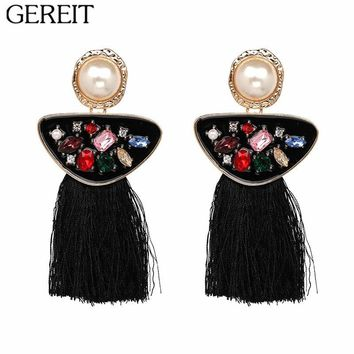 Vintage Ethnic Long Tassel Earrings Pendant Fringe Drop Statement Earrings Crystal Stone Beads Bohemian Pearl Earrings for Women